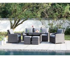 Garten-Sitzgruppe MOOREA - Polyrattan - Sofa, 2 Sessel, 2 Hocker & Tisch - Anthrazit