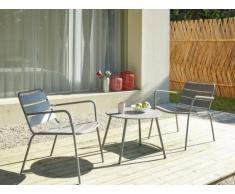 Garten Sitzgruppe Metall MIRMANDE - 2 Sessel & Beistelltisch - Grau