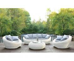 Garten Sitzgruppe Polyrattan WHITEHEAVEN: Sofa, 2 Sessel + Couchtisch - Ecru