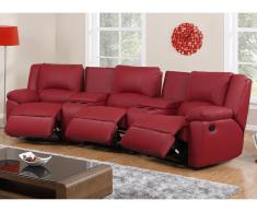Relaxsofa Leder 3-Sitzer Aroma - Rot