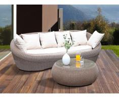 Polyrattan Gartensofa 3-Sitzer + Gartentisch Whiteheaven - Karamell & Creme