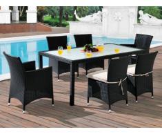 Polyrattan Essgruppe Alanda: Tisch + 2 Sessel + 4 Stühle - Anthrazit & Beige