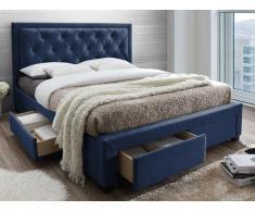 Polsterbett mit Stauraum LEOPOLD - Samt - 160 x 200 cm - Blau