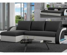 LED-Wohnlandschaft mit Bettfunktion Corneille - Schwarz/Weiß