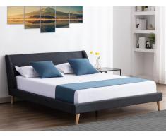 Bett skandinavisch BENEDICTE - 160 x 200 cm - Stoff - Anthrazit