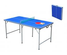 Tischtennisplatte klappbar & tragbar mit Schläger, Bällen & Netz KLODIE - B153 x T76,5 x H70,2 cm