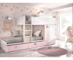 Hochbett mit Kleiderschrank JUANITO - 2 x 90 x 190 cm - Weiß, Eiche & Rosa
