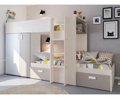 Etagenbett mit Kleiderschrank JULIEN - 2x90x190cm - Weiß & Taupe