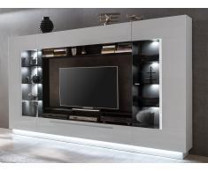 TV-Möbel TV-Wand mit Stauraum & LED-Beleuchtung BLAKE - Weiß