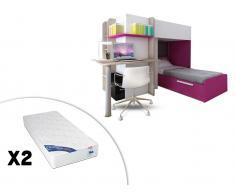 Sparset Samuel: Kinderbett in 2x 90x190 inkl.Schreibtisch & 2 Matratzen Zeus- Rosa (3-tlg.)