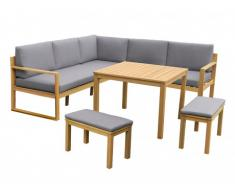 Garten Essgruppe Holz CAPELLI: Ecksofa, 2 Bänke + Esstisch