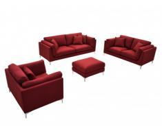 Couchgarnitur Stoff 3+2+1 mit Sitzhocker FLAKE - Rot