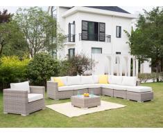 Garten-Sitzgruppe modulierbar BUSAN - Polyrattan: 6-Sitzer-Sofa, Sessel, Hocker & Beistelltisch