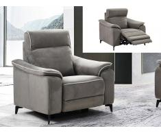 Relaxsessel Fernsehsessel elektrisch BACCI - Stoff - Grau