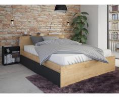 Bett mit Stauraum FRANK - 140x190 cm - Eichenfarben & Anthrazit