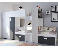 Etagenbett JULIEN + Lattenrost - 2x90x190cm - Schwarz&Weiß