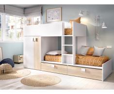 Etagenbett mit Kleiderschrank JUANITO - 2 x 90 x 190 cm - Weiß & Eiche