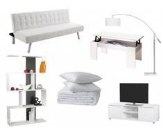 Sparset GUILLAUME: Klappsofa GUILLAUME - Weiß, Couchtisch, TV-Möbel, Regal, Stehlampe, Bettdecke & 2 Kopfkissen