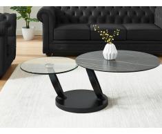 Couchtisch mit drehbaren Tischplatten JOLINE - Keramik & Glas - Schwarz mit Marmor-Effekt
