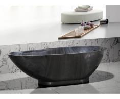 Freistehende Badewanne Marmor-Optik MARBELA - 180x85x58cm - Schwarz