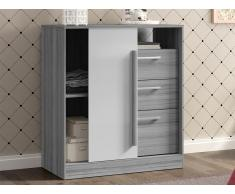 Kommode DEVY - 1 Ablage, 1 Tür & 3 Schubladen - Grau & Weiß