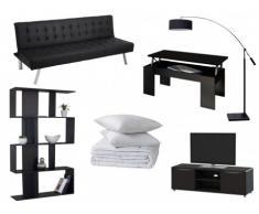 Sparset GUILLAUME: Schlafsofa + Couchtisch + TV-Möbel + Regal + Stehlampe + Bettdecke + 2 Kopfkissen