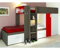 Etagenbett Julien - 2x90x190cm - Taupe & Rot