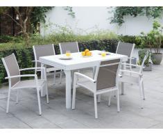 Garten Essgruppe PAHOA - Ausziehbarer Tisch & 6 Stühle - Weiß