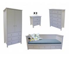 Sparset Kinderzimmer SANDRINE: Kinderbett - 90x190cm + Nachttisch + Kommode + Kleiderschrank