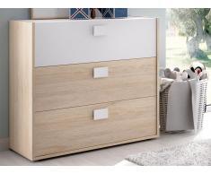 Kommode SONIA - 3 Schubladen - Eiche & Weiß