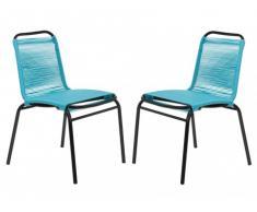 Polyrattan Gartenstuhl 2er-Set Kelios - Blau