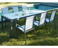 Garten Essgruppe Aluminium SAMAXI: Ausziehbarer Tisch 180/240cm + 6 Sessel