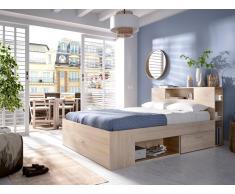 Bett mit Stauraum & Schubladen LEANDRE - 160x200 cm - Eichenholzfarben