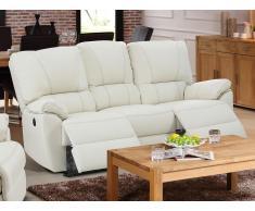 Relaxsofa 3-Sitzer Leder elektrisch Marcis - Elfenbein