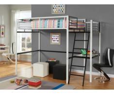 Hochbett mit Schreibtisch Casual II - Schwarz-Weiß - 140x190cm - Schwarz-Weiß