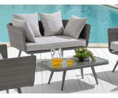 Polyrattan Gartensofa 2-Sitzer + Gartentisch Caledonia