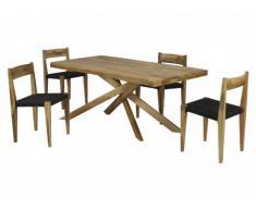 Sparset Mangoholz massiv Jalopy: Essgruppe & 4 Stühle (5-tlg.)