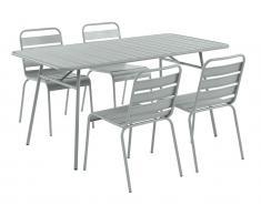 Garten Essgruppe Metall MIRMANDE - Tisch B. 160 cm & 4 Stühle - Grau