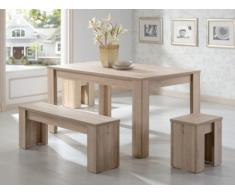 Essgruppe Alarie: 1 Tisch + 1 Bank + 2 Hocker