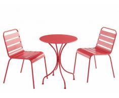 Garten Essgruppe Metall MIRMANDE - Tisch D. 60 cm & 2 Stühle - Rot