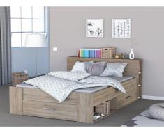 Bett mit Stauraum Leonis - 160x200cm - Eichefarben