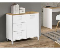 Sideboard SEATTLE - 1 Tür & 3 Schubladen - Weiß