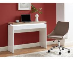 Büro-Konsolentisch mit LED-Beleuchtung HALO - 1 Schublade - Weiß & Eichefarben