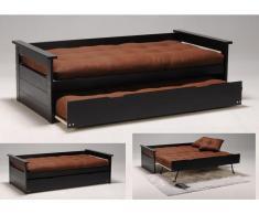 Ausziehbett Massivholz Alfonso - 90x190cm - Schwarz