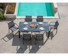 Gartenmöbel Essgruppe Aluminium PALAOS (7-tlg.) - Anthrazit: Ausziehbarer Esstisch + 6 Sessel