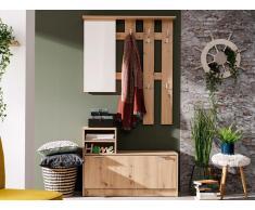 Garderobe PENINA - 1 Tür, 2 Ablagen & 1 Spiegel - Eiche