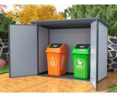 Mülltonnenbox doppelt DENEB - Kunstharz - Metall - B199 x T90 x H149cm
