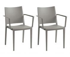 Stuhl mit Armlehnen 2er-Set TOXA - Stapelbar - Polypropylen - Grau