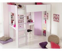 PARISOT Hochbett mit Schreibtisch MILA + Kleiderschrank + Lattenrost - 90x200cm