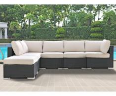 Polyrattan Lounge Sitzgruppe Alanda ohne Gartentisch (6-tlg.) - Anthrazit & Beige